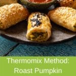pinterest green banner above image - pumpkin and fetta rolls in star shape, tomato sauce in the middle
