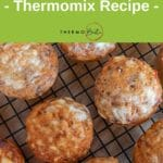birdseye view mexi muffins on cooling rack, green banner with recipe title and thermobexta logo above