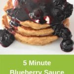 blueberry sauce on pancake stack on white plate on colourful placemat. Green banner underneath, with recipe title and Thermobexta logo