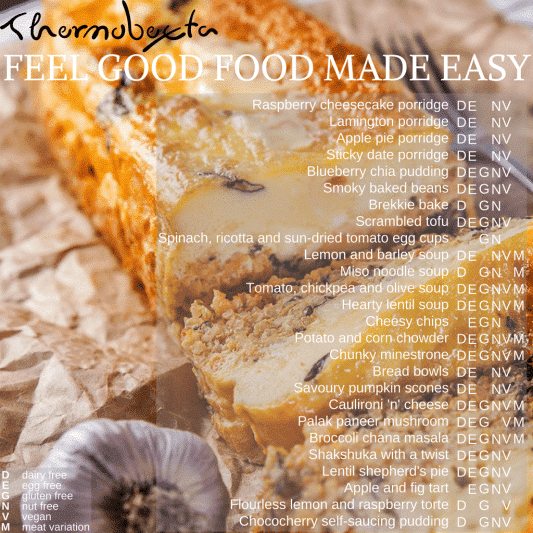 feel good food made easy index, image of brekkie bake in background