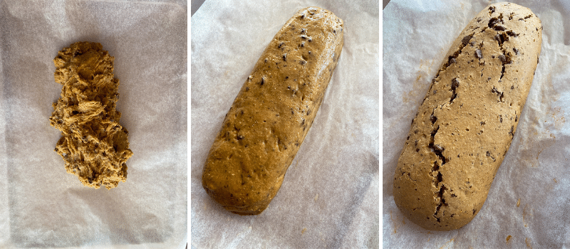 three photos. Left, straight out of the Thermomix bowl, rough. Middle shaped into a neat log, not cooked. Right cooked log