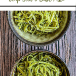 text 'thermobexta thermomix hemp seed and basil pesto' at top, image of two half bowls of pesto pasta. Green strip at bottom containing thermobexta logo