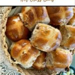 hot cross buns in basket Pinterest pin