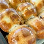 close up of hot cross buns on tray pin