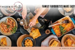 cover page family favourites made easy. table full of different dishes